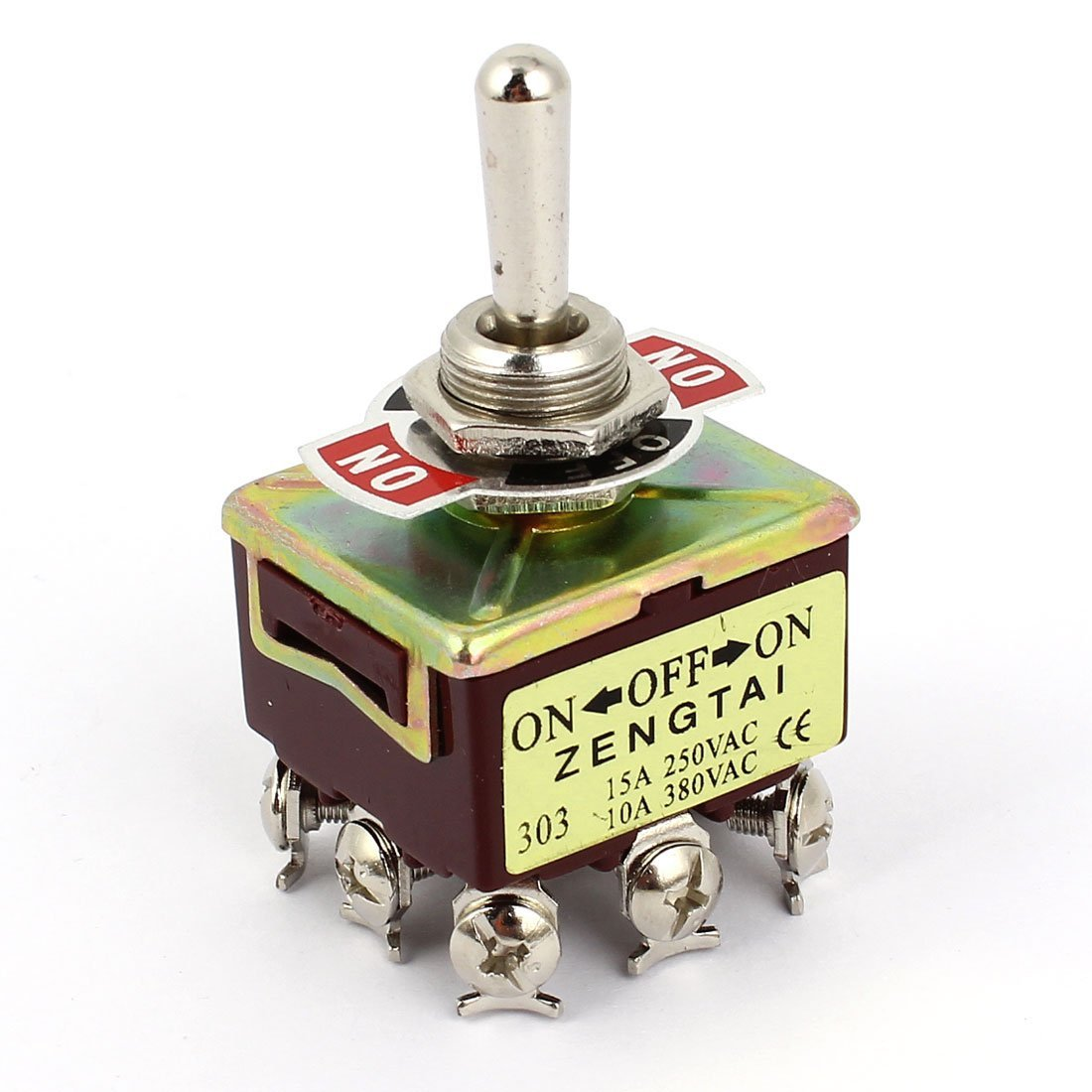 uxcell 3PDT On/Off/On Latching 9 Screw Toggle Switch AC 250V/15A 380V/10A