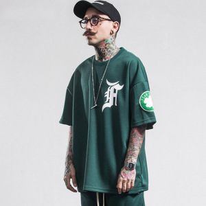 2018 summer mens casual T Shirt streetwear black and green brand clothing man's loose T-Shirts male tops play tees take a walk