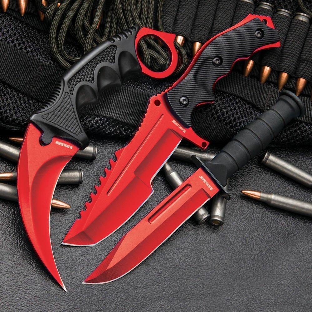CSGO 3-Pc. Knife Set Atomic Red   Karambit - Huntsman - Military Knife