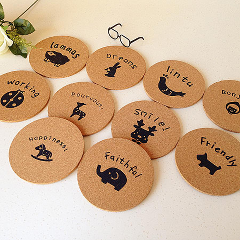 Promotional gifts drink coasters wood carved colorful printing coaster with cork bottom