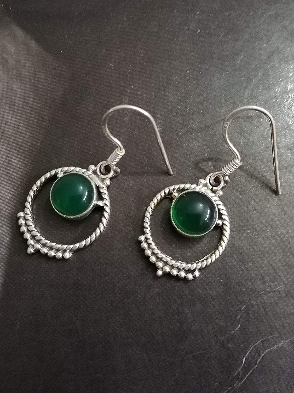 Green Onyx Earrings, 925 Sterling Silver, 7th Anniversary Earrings, Wedding Earrings, Eye Catching Earrings, Drop Dangle Onyx Earrings, Healing Earring, Hippie Earring, Summer Earrings, Mermaid Gift
