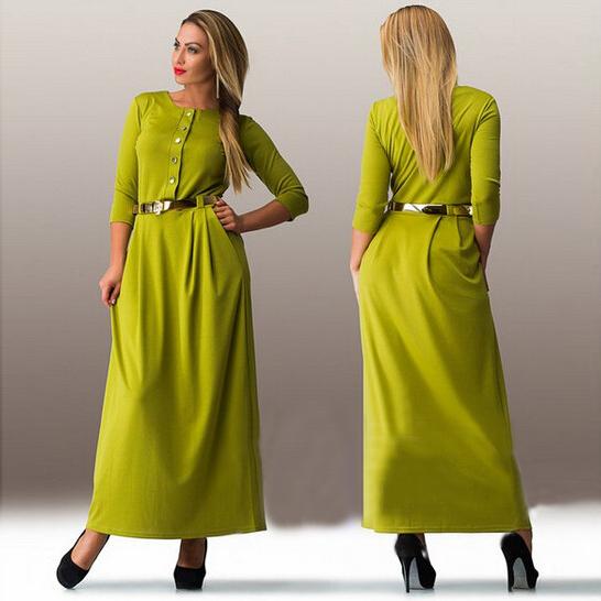 a6f10dc04e1f Plus Size 5xl 6xl women Casual Loose long dress Solid Three Quarter O-Neck  Floor