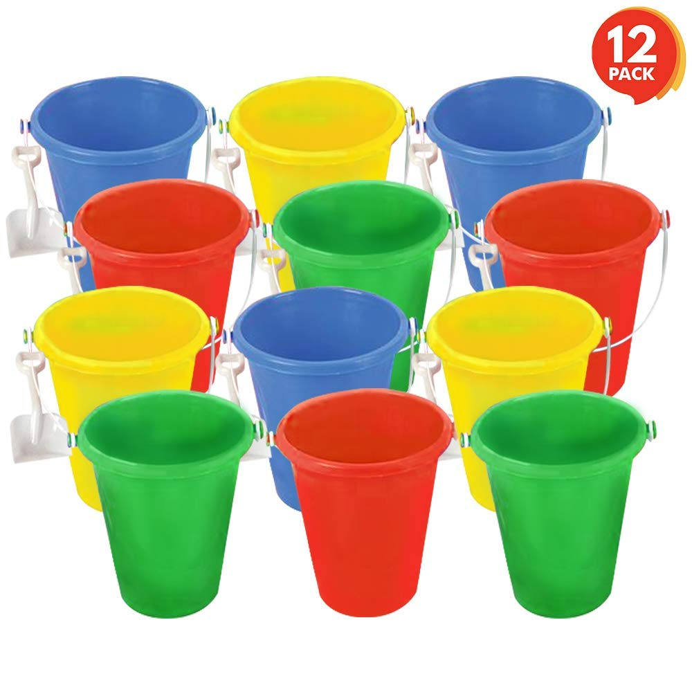"ArtCreativity Mini Plastic Beach Pail and Shovel Set (Pack of 12) | 6"" Assorted Colors Buckets and White Shovels 