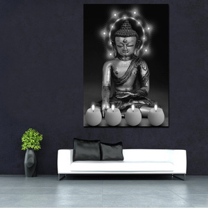 LED Light Canvas Art Painting Dark Buddha Decor Wall Picture Custom Print Painting
