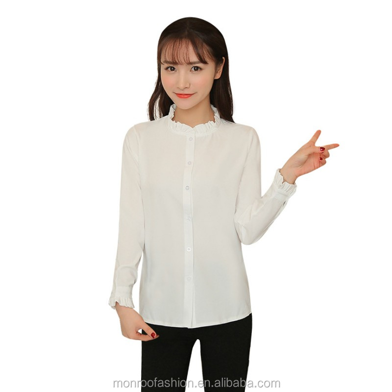monroo 2017 Spring Summer Sweet Girl Women Cute Blouse Ruffled Collar Petal Sleeve Top Basic Shirt Blusas Femininas