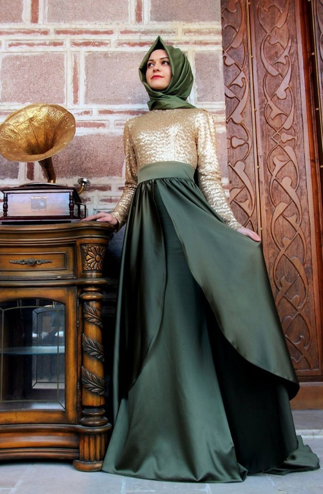 57b86b503 ATE05 الأعلى تصميم العربية سيدة أثواب عالية الياقة طويل الأكمام اثنين اللون فساتين  السهرة مسلم مع