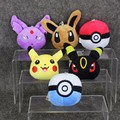 10pcs lot 8cm 6 styles Cute Pikachu EEVEE Poke Ball Pandent Red Ball Plush Doll Anime