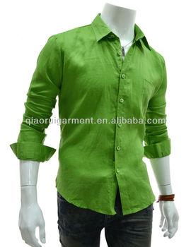 0c802cc6d4f6 Men's Olive Green Slim Fit Black Linen Dress Shirt - Buy Olive Green ...