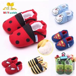 Cute Cartoon Add Plush Unisex Newborn Baby Shoes