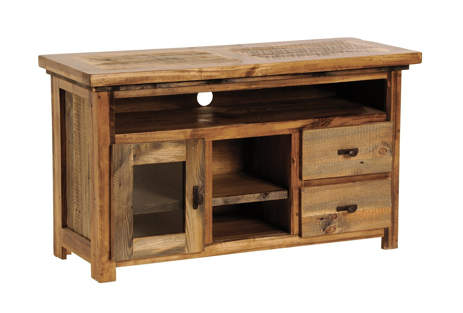 """Mountain Woods Furniture The Wyoming Collection Television Center, Antler Pull, 54"""""""