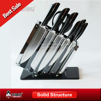 Universal Kitchen Knife Set With Acrylic Glass Block