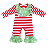 Fall Boutique Kids stripe Ruffle Jumpsuit Bodysuit long Sleeve Long Leg Cotton Baby Girl One Piece Icing Ruffle Romper