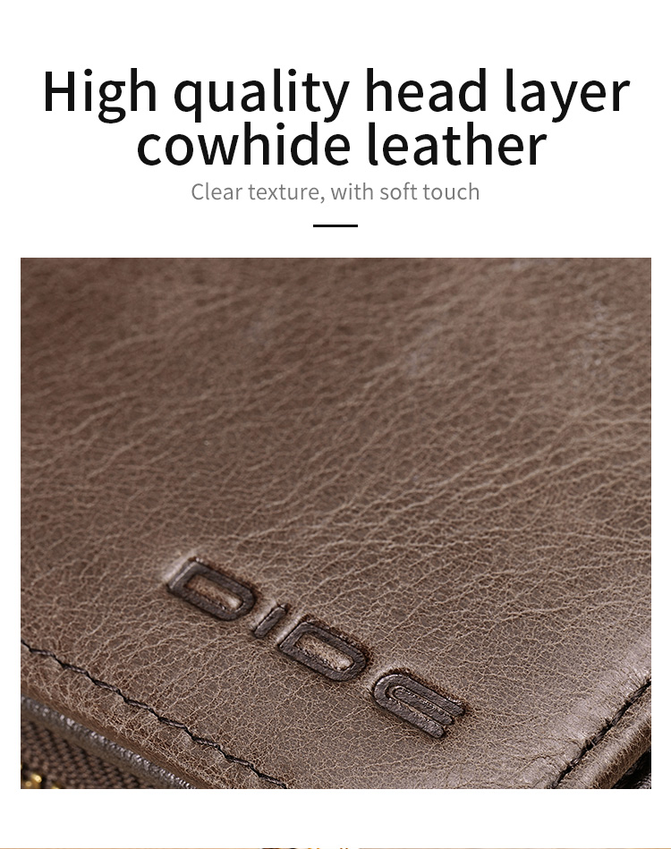 DIDE Waterproof Design Card Holder Genuine Leather Wallet Men Large Capacity Wallet New Design