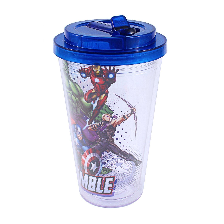 5c3f97e764 Get Quotations · Silver Buffalo AV6684 Marvel Avengers Assemble BPA-Free  Plastic Flip Straw Cold Cup, 16