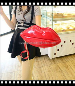 Popular Sexy Women Lady Clutch Chain Shouder Bag Evening Party Lip Shape Bag