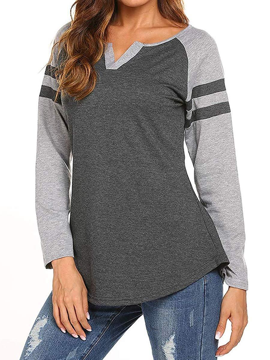 98252cf01f1 Get Quotations · Hestenve Women s Long Sleeve T-Shirt Henley Raglan Loose  Blouse Baseball V Neck Tops