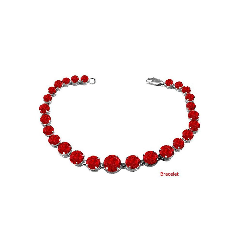 Get Quotations Lovebrightjewelry G Set Ruby Bracelet In 14k White Gold 15 00 Ct Tgw