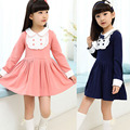 New Student Long Sleeve Dress College Trend Spring Summer Autumn 4 12Years Girls Casual Dresses Elegant