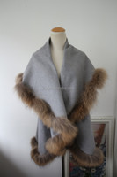 Grey Pashmina Shawl With Fur Trimmed Splendid Natural Raccoon Fur Trim With Cashmere Like Cape Poncho