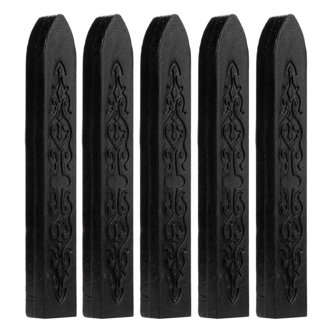 5 Pcs Sealing Wax Stick without Wicks, Vintage Totem Fire Manuscript Sealing Wax Sticks with Wicks Multi-Color Cord Wick Sealing Wax For Postage Letter Retro Vintage Wax Seal Stamp (Black)
