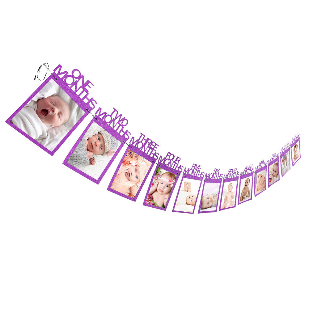 12 Months Photo Frame Banner First Happy Birthday Decorations 1st Baby Boy Girl photo banner