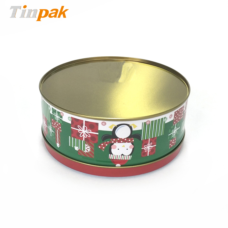 Round metal tins Christmas gift candy boxes