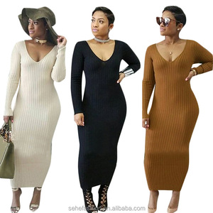 1018-CM1 good quality women v neck thick warm pencil maxi dress