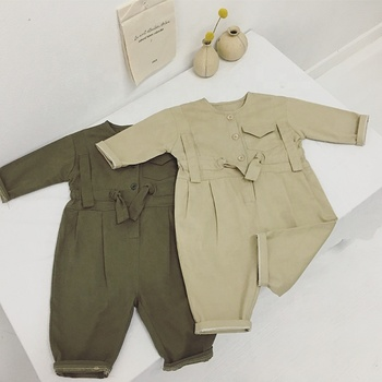 Wholesale long sleeve pure color unisex newborn baby clothes romper, toddler clothing bodysuits 2291