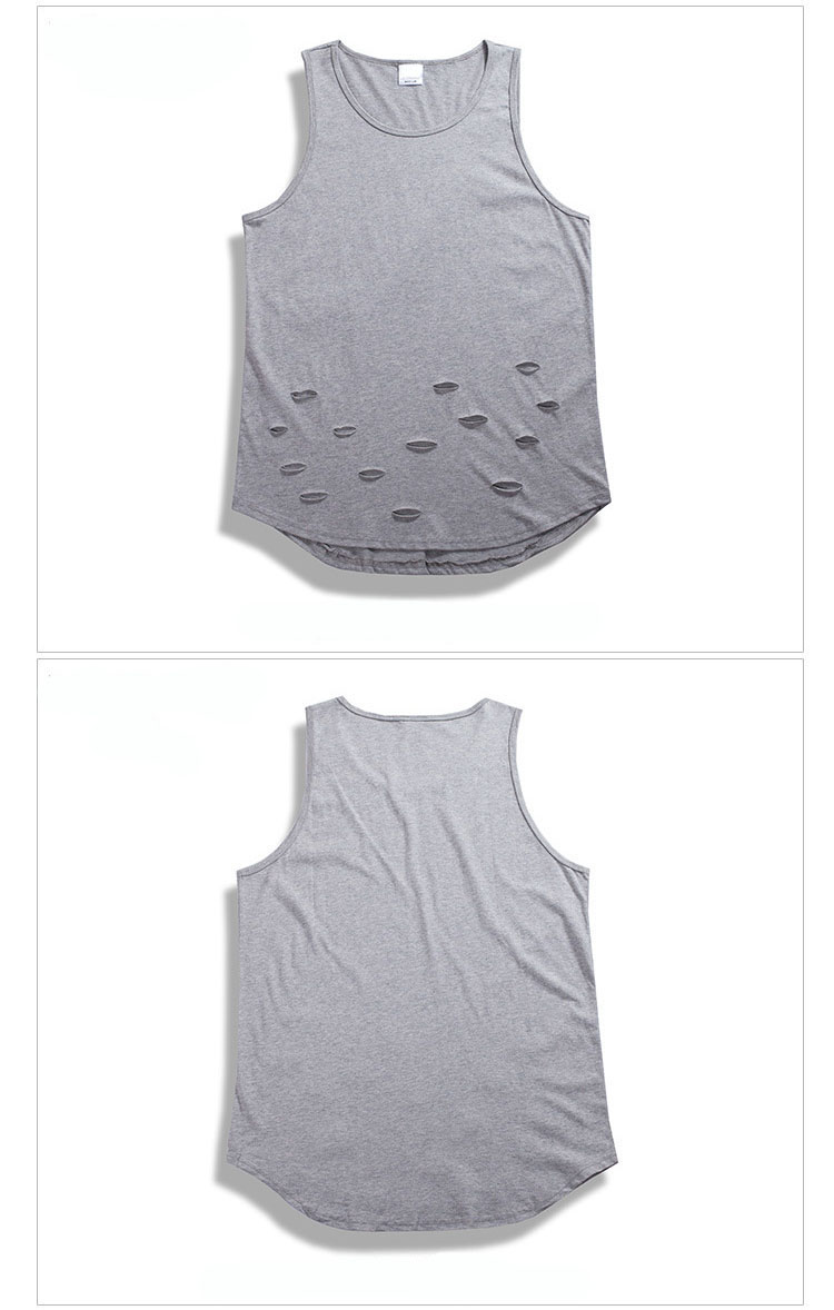 b22e12aad20d46 ... Aolamegs Tank Tops Men Fashion Ripped Holes Vest Solid Color High  Street Wear Tops Tee Summer ...