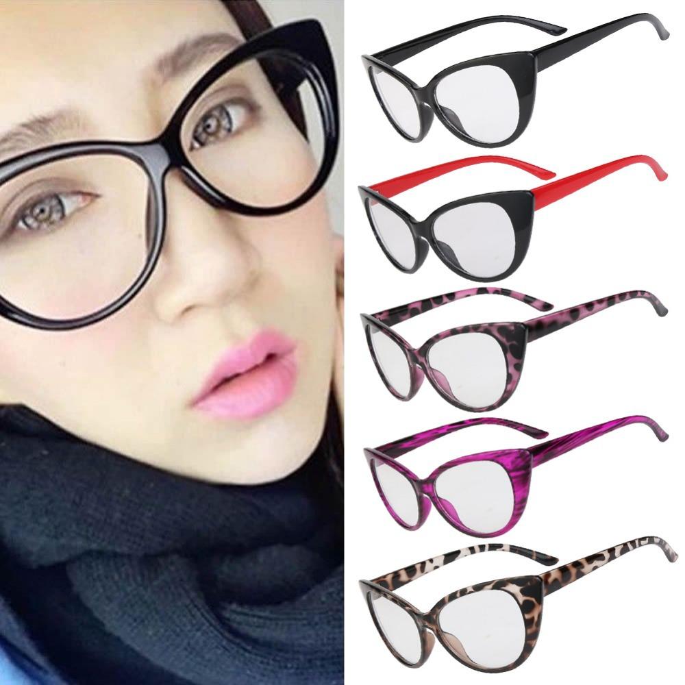 Hot Fashion Retro Sexy Women Eyeglasses Frame Cat Eye Clear Lens lady Eye Glasses Drop Shipping