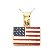 14kt gelbgold emaille United states flag <span class=keywords><strong>kette</strong></span> im lieferumfang enthalten