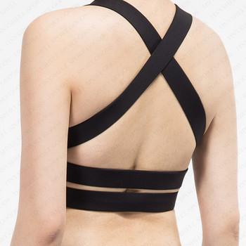 0347c6872de0d Private label custom double padded push up sexy sport underwear womens  cross strap training workout bra