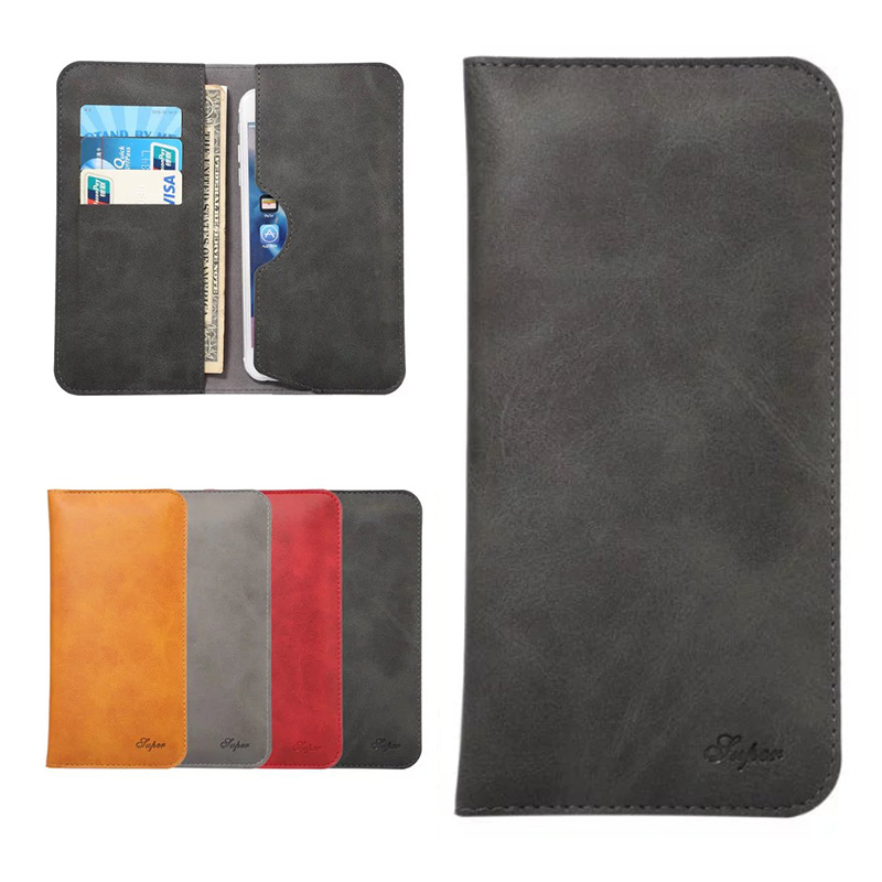 Luxury Business Universal Leather Wallet Card Slot Bag Cover Case For Mobile Phone iPhone 6 & 6 Plus
