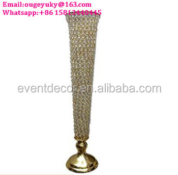 Tall Crystal Beaded Flower Vase Metal Decorative Vase For