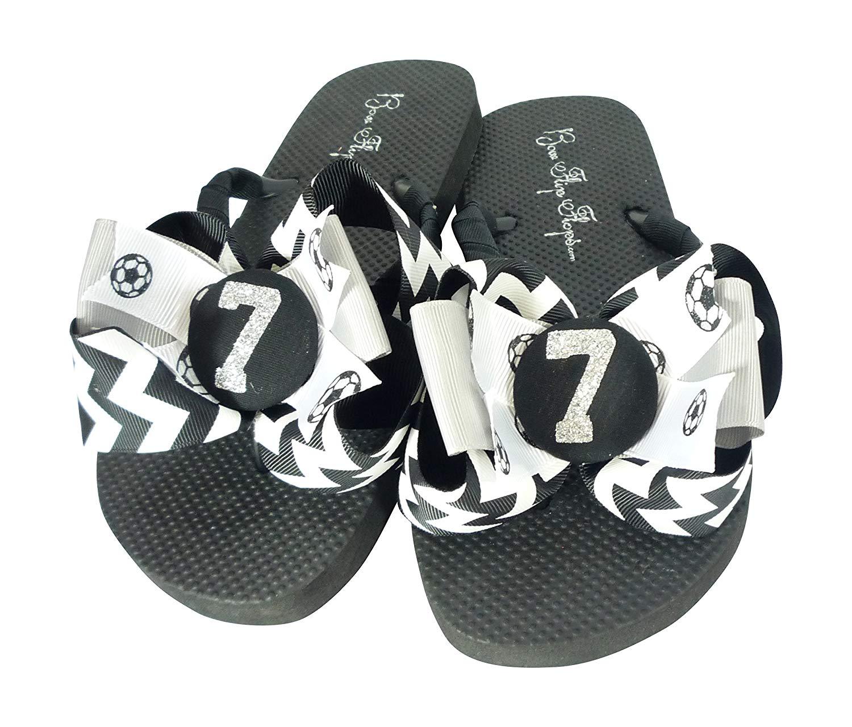 7ef7e6d9e818ab Get Quotations · Customized Soccer Glitter Bow Flip Flops for Women