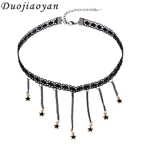 Hot Sale Retro Gothic Style Women Lace Fabric Jewelry Pendant Tattoo Star Choker Necklace For Girls