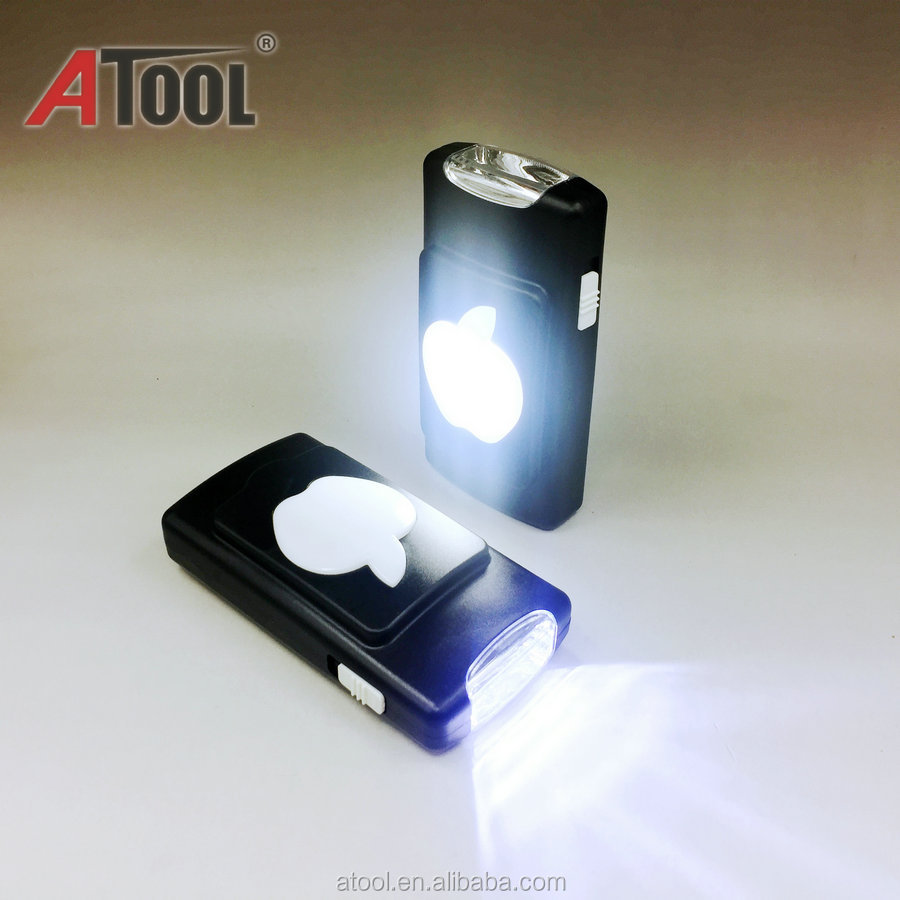 2017New 3 * AA pin khô operated nhựa LED torch với hook mini đèn pin