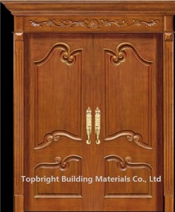 simple exterior teak wood double entry soundproof door design