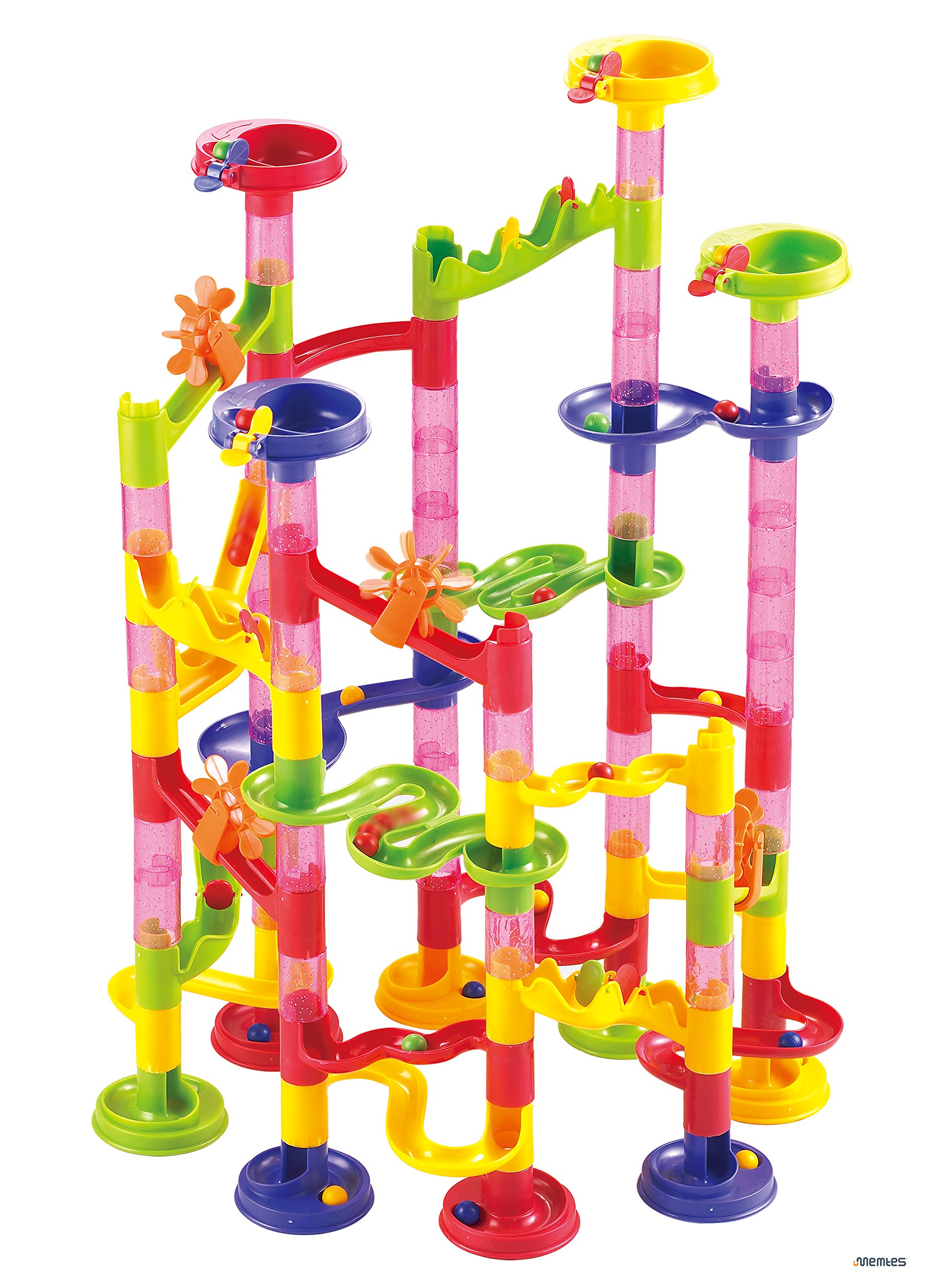 Memtes Marble Run Race Coaster 105 Piece Set with 75 Building Blocks Plus 30 Race Marbles Learning Railway Construction Maze Toy Game