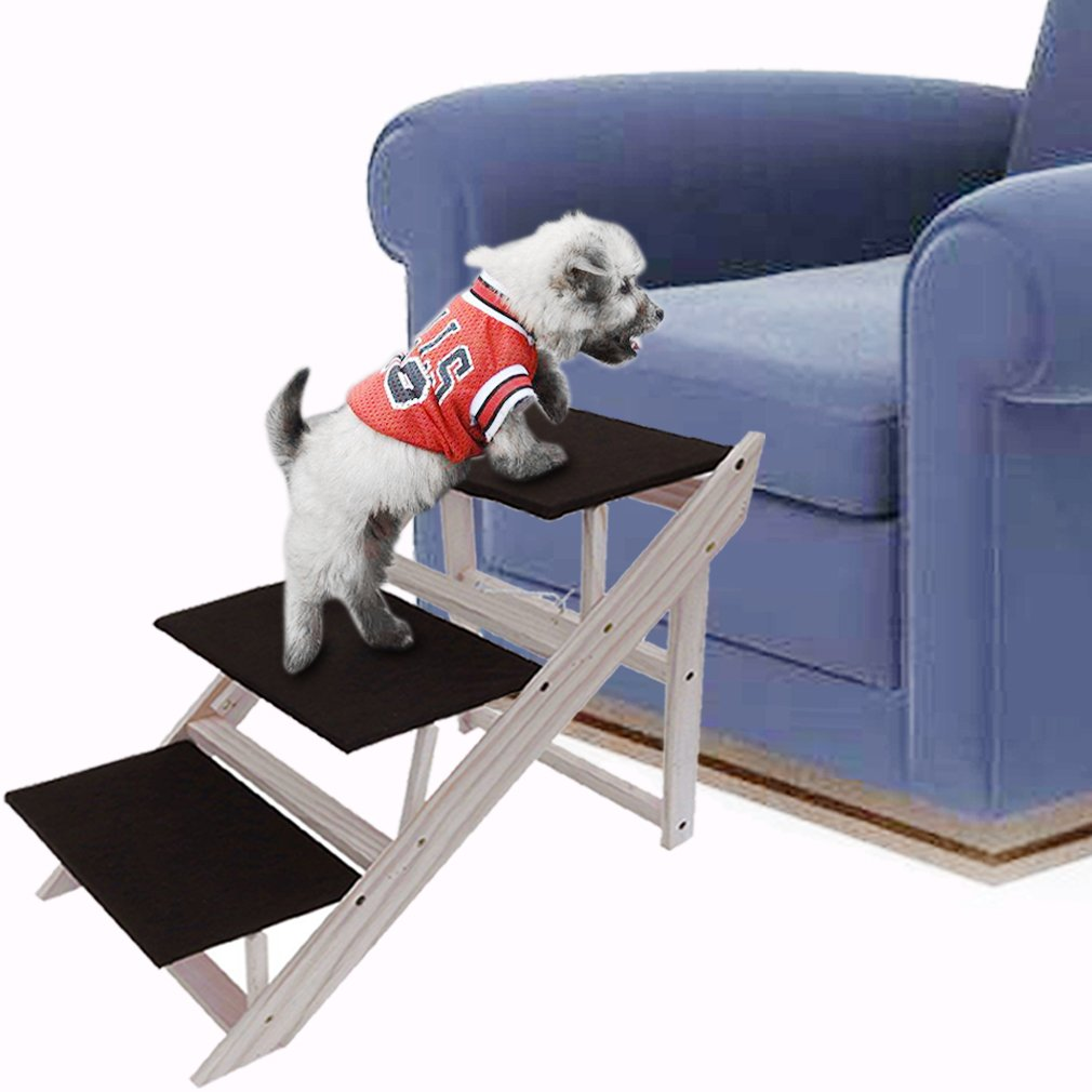 Get Quotations · Pets Stairs,Foldable Flat 3 Layers Stairs,Solid Wood Dog  Stairs,Superior Velvet