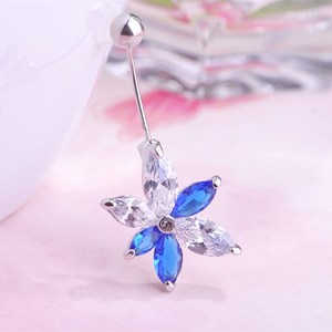 Wholesale Pink Flower Navel Belly Rings Colorful Crystal 316L Stainless Steel Sexy Body Piercing Jewelry