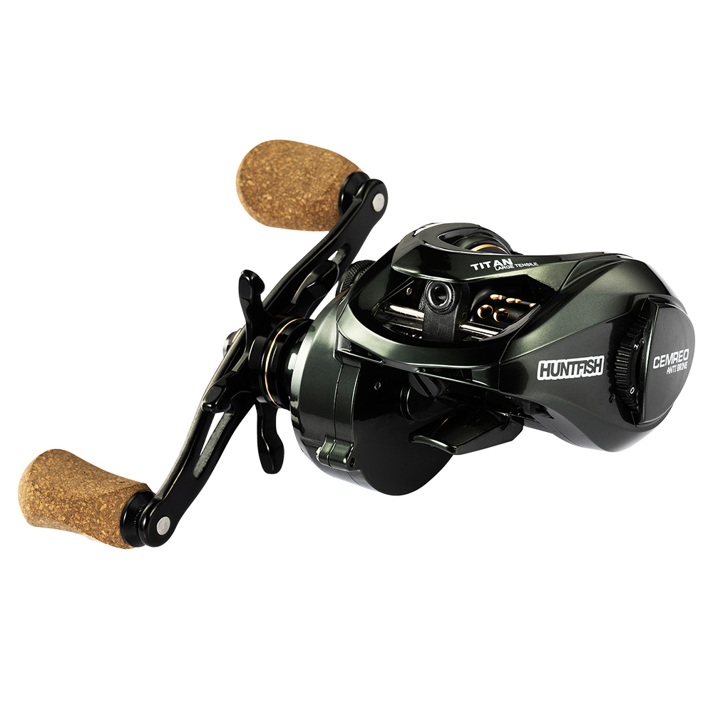 CEMREO 13+1BB 12kg All Metal Left Hand Right Hand Baitcasting Fishing Reel for Saltwater, Black+gold