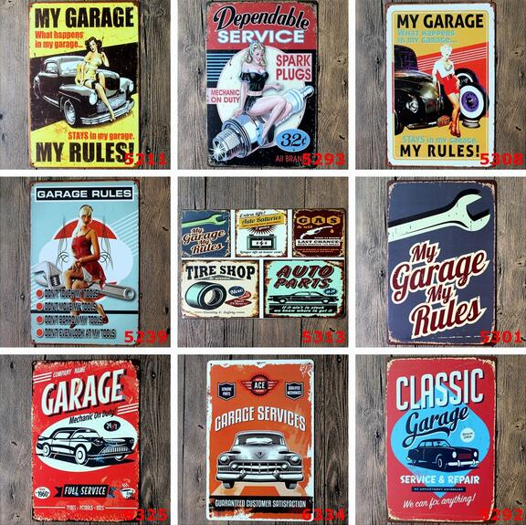 5pcs/lot Hot car garage vintage tin sign street rod retro mural poster metal painting home decor free shipping