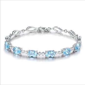 White Gold Aquamarine Chain Bracelet Designs For Woman Cheap Price Wholesale Silver Bracelet In Yiwu