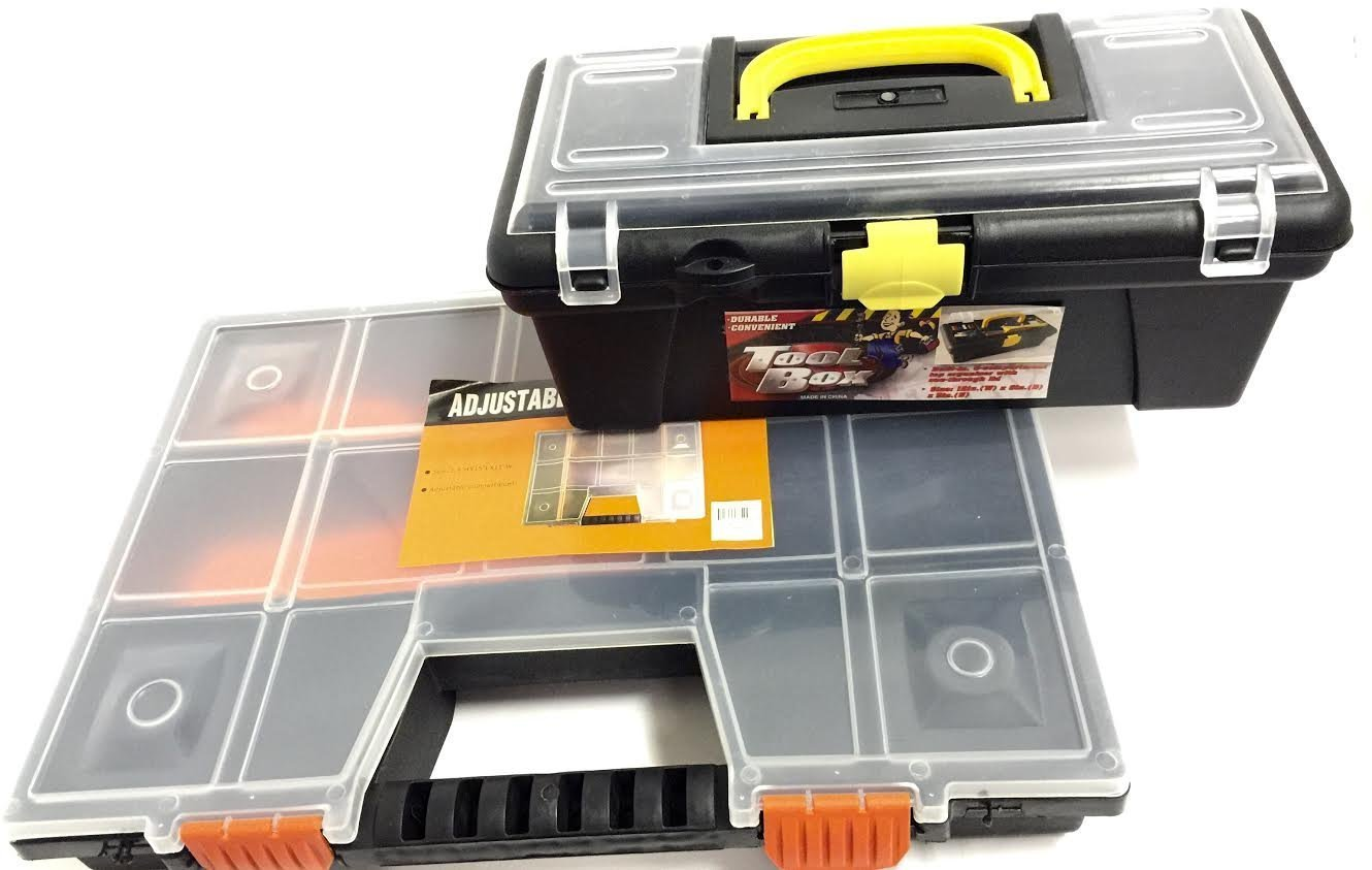 """15""""L X 10.5""""W X 2.3""""H Adjustable Storage Box Compartment and 12""""L X 6""""W X 5""""H Tool Box Set - (Assorted Color)"""