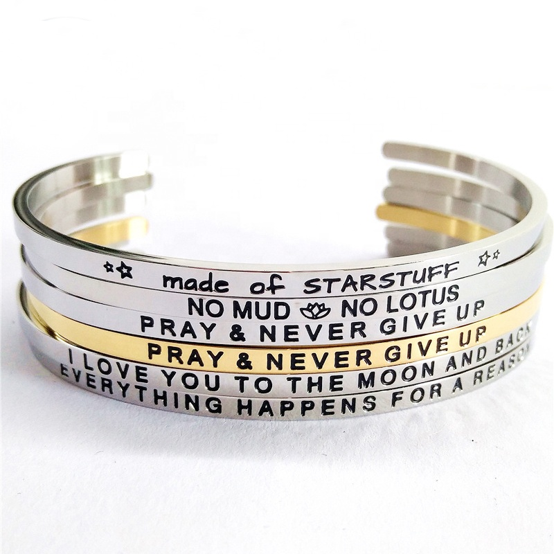 ad90ccd4e6c Mantra Quote Motivational Stackable engraved Inspirational Adjustable  Stainless Steel Christian metal Cuff Bracelet For Women. Hot sale products