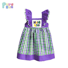 organic cotton purple yellow green Chilrden's boutique clothing kids clothes Wholesale mardi gras baby dress