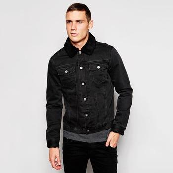 47bb0dd358a Black Denim Plain Fur Jacket Black Collar Windbreak Overcoat For Men