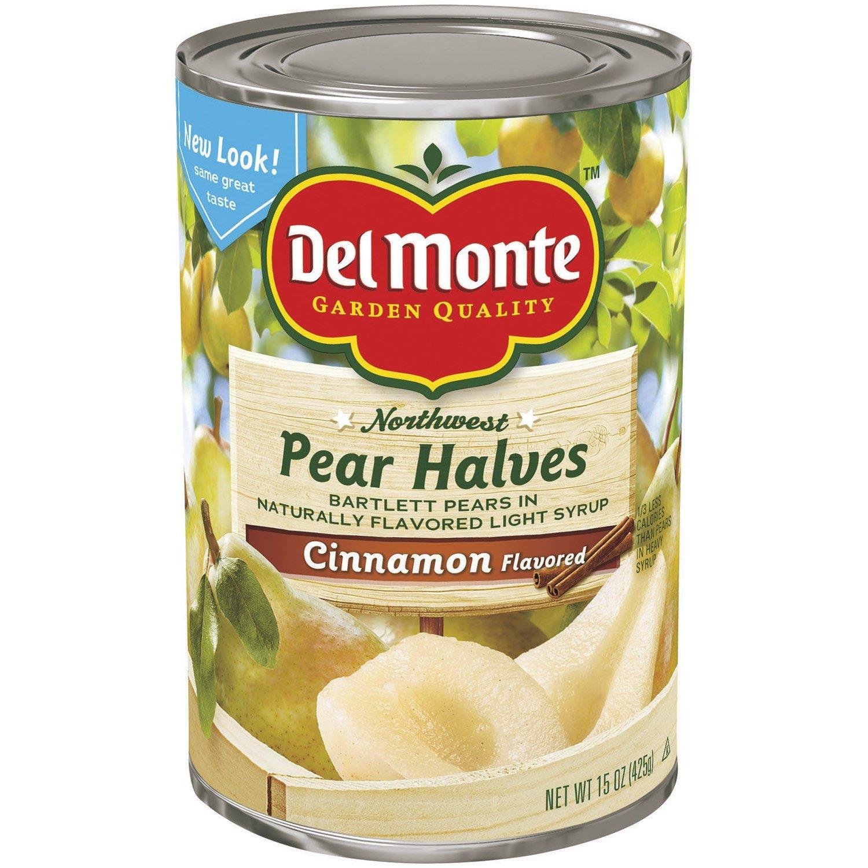 Del Monte Pear Halves, Cinnamon Flavored 15 oz (Pack of 12)