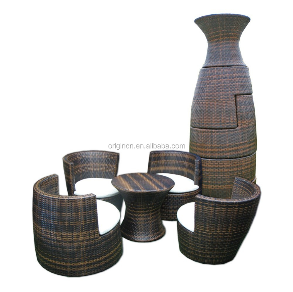 088 Space Saving Stackable Oval Cocoon Shape Rattan Bistro